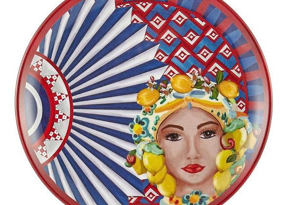Positano Kadın Yüz Desenli Tabak 28 Cm