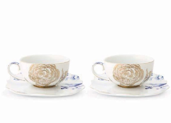 Royal Beyaz 2li Altın Çiçek Desenli Çay / Kahve Fincanı