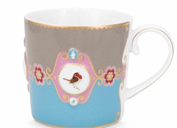 Love Bird Küçük Mug, Mavi/Haki
