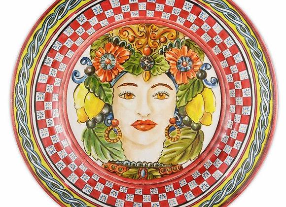 Kırmızı Barok Yemek Tabağı 28 Cm