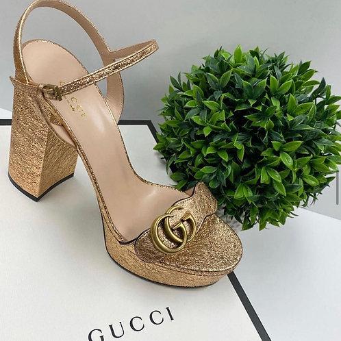 Gucci GG Marmont Metallic Platforms