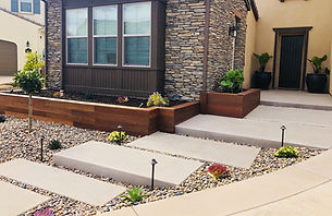 Front yard, san diego, concrete steps, sand finised concrete, mangaris wood, raised planter, xeriscaping, landscaping, low maintenance landscape