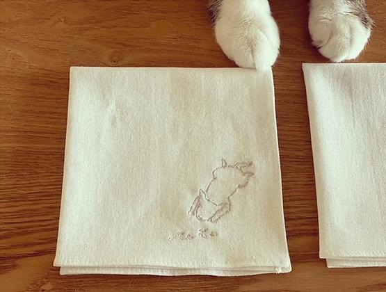 teteオリジナル コットンリネン刺繍ハンカチ