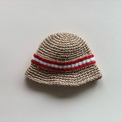 麦わら帽子(アイボリー×フランス製ビンテージリボンD)