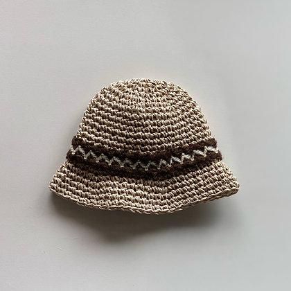 麦わら帽子(アイボリー×フランス製ビンテージリボンC)