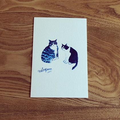 teteオリジナル ポストカード(青いシリーズ-Chubby and stoop / ぽっちゃりと猫背)