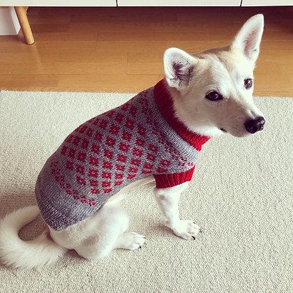 豆コのセーター(赤×グレー)
