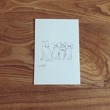 teteオリジナル ポストカード(鉛筆画シリーズ-Family / 家族)