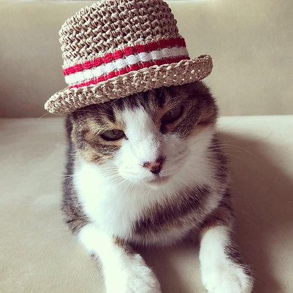 麦わら帽子(アイボリー×フランス製ビンテージリボン-E)