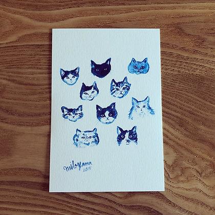 teteオリジナル ポストカード(青いシリーズ-ねこたち)