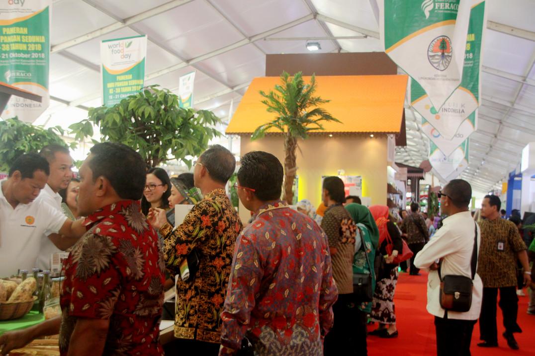 Suasana area Pameran Hari Pangan Sedunia 2018.