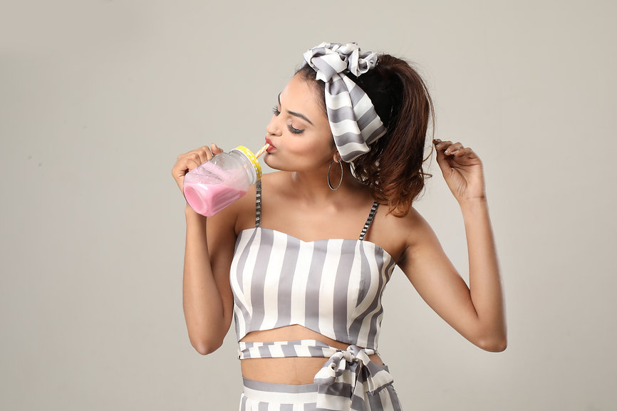 Striped bow tie bustier with palazzo pan