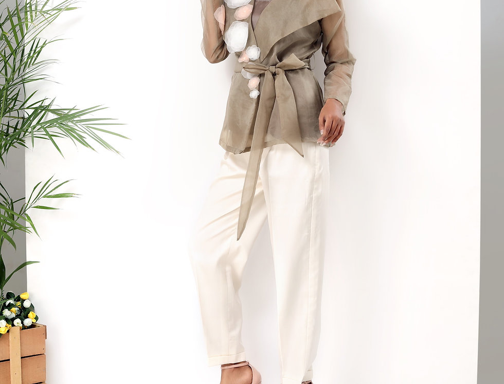 BELTED WRAP TIE JACKET WITH PANTS