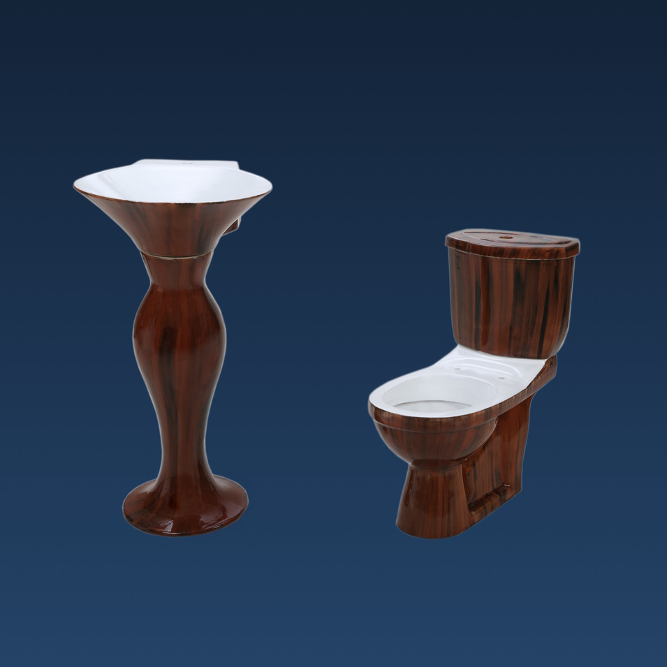 WOODEN PREMIUM WC WITH DOLPHIN W.B. SET