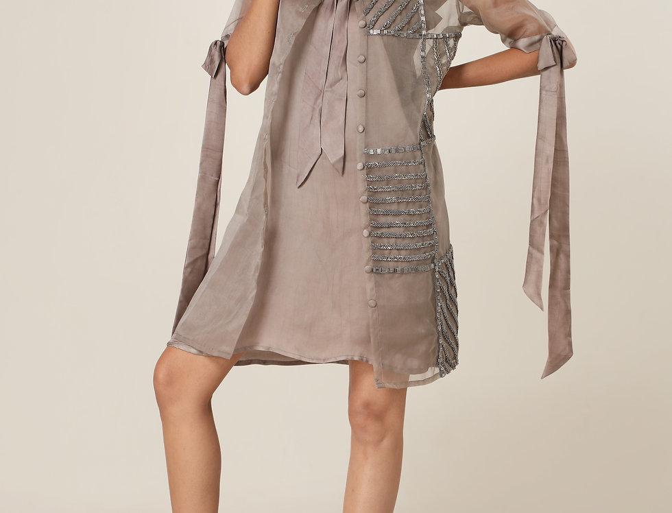 TIE COLLAR SHIRT DRESS