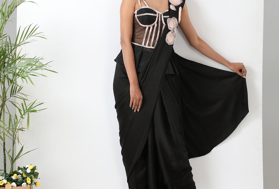 PEPLUM CORSET WITH FUSION SAREE