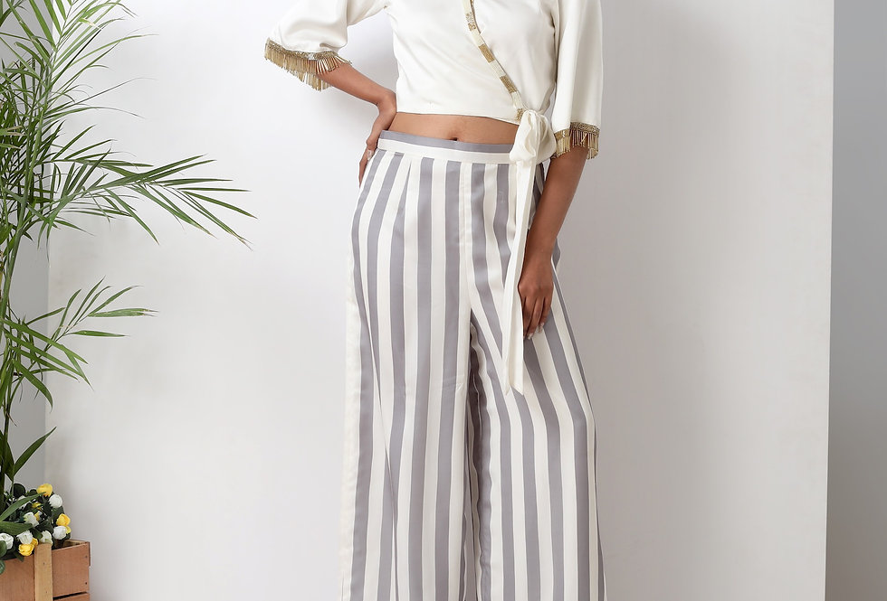 WRAP TIE TOP WITH STRIPED PALAZZO PANTS