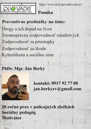 Ponuka prednášok pre ZŠ - téma: Prevencia
