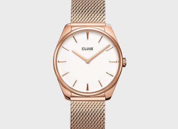 Reloj mujer Cluse 36 mm - CW0101212002  Féroce Mesh White, Rose Gold