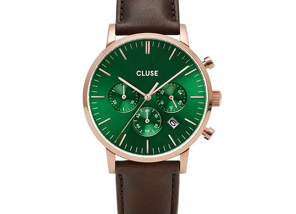 Reloj hombre Cluse 40 mm - CW0101502006  Aravis Chrono Leather Green, Rose Gold