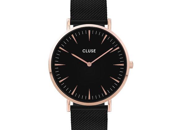 Reloj Cluse 38 mm - CW0101201010  Boho Chic Mesh Black, Rose Gold Colour