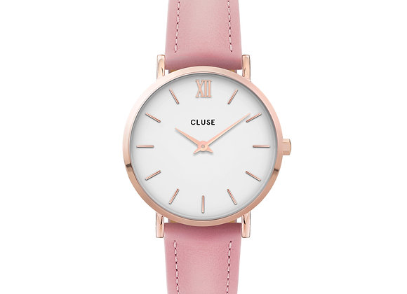 Reloj Cluse 33 mm - CW0101203006  Minuit Leather Pink, Rose Gold