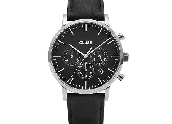 Reloj hombre Cluse 40 mm - CW0101502001  Aravis Chrono Leather Black, Silver