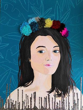 Portrait aux pompons - Techniques mixtes sur toile