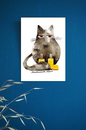 Chat pluie - Impression d'après aquarelle originale