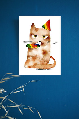Chat fête - Impression d'après aquarelle originale