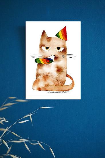 Chat fête - Impression d'après aquarelle originale