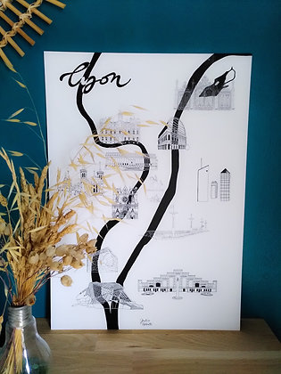 Affiche plan de Lyon - Impression