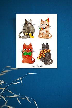 Les chats - Impression d'après dessin original à l'aquarelle