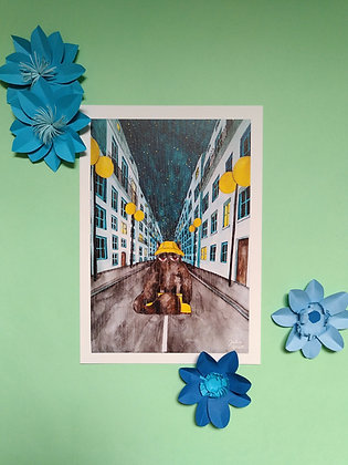 Chat sous la pluie-Art print