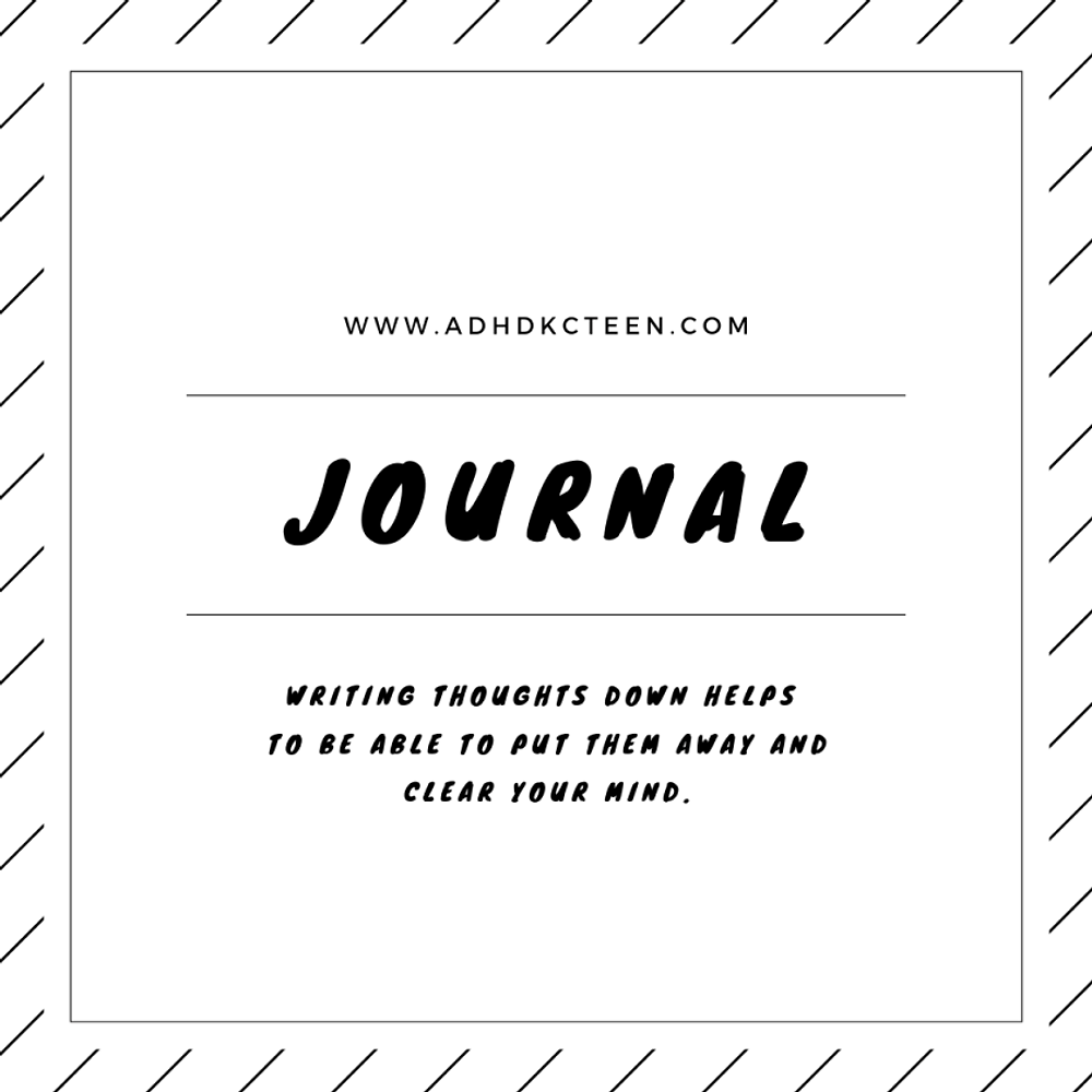 Journaling can get thoughts out of your head so you can relax. Try it when you're angry, anxious, or can't sleep. It just might work. @adhdkcteen