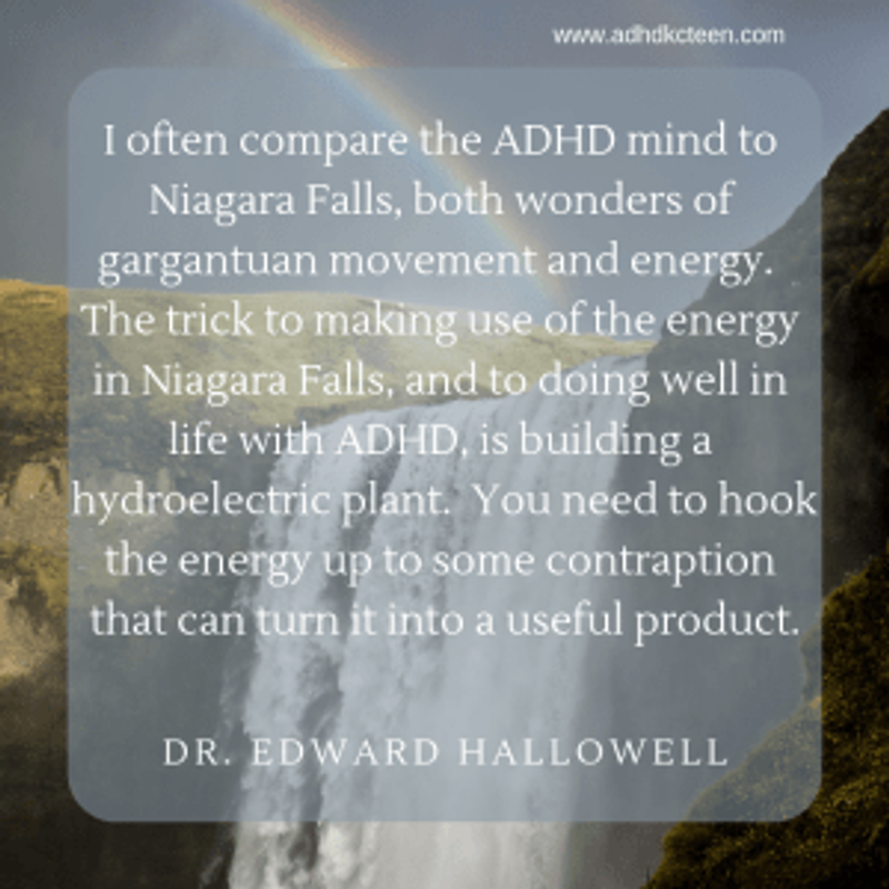 Dr. Hallowell compares ADHD to waterfalls - both are powerful but must be managed.