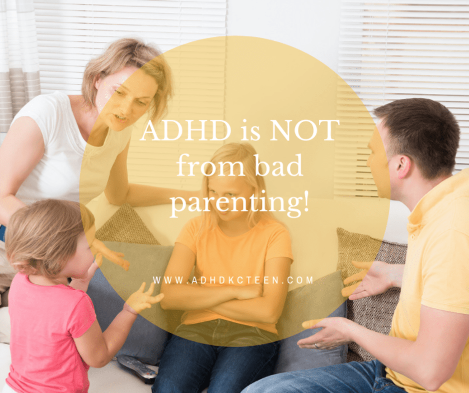 ADHD is not from bad parenting. It is based in our brains and is neurological. For more see adhdkcteen.com. #adhd #whatisadhd #braindevelopment