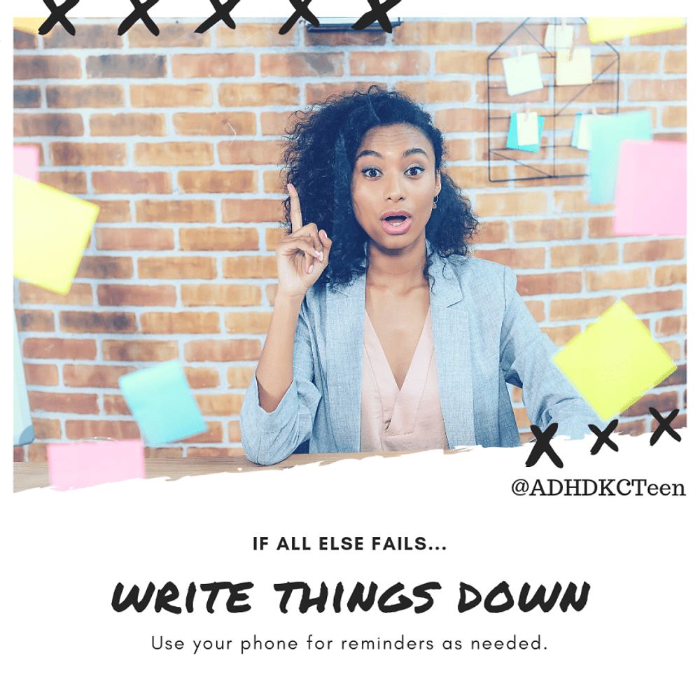 If you struggle to recall your thoughts during an important conversation or lecture, jot stuff down quickly to trigger your memory when the time comes for you to talk. @adhdkcteen