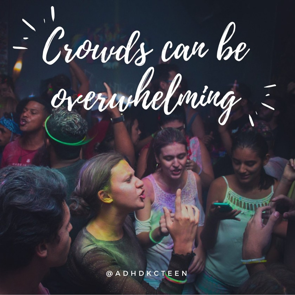 Although many people with ADHD seem to be the life of the party due to their high energy and talkative nature, they often have trouble in big groups.  @adhdkcteen