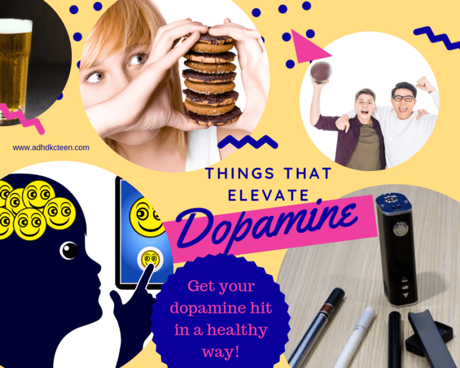 Drugs, alcohol, exercise, foods and any pleasurable activity can increase our dopamine level and make us feel happy. Not all are healthy ways to get a dopamine hit. #adhdkcteen