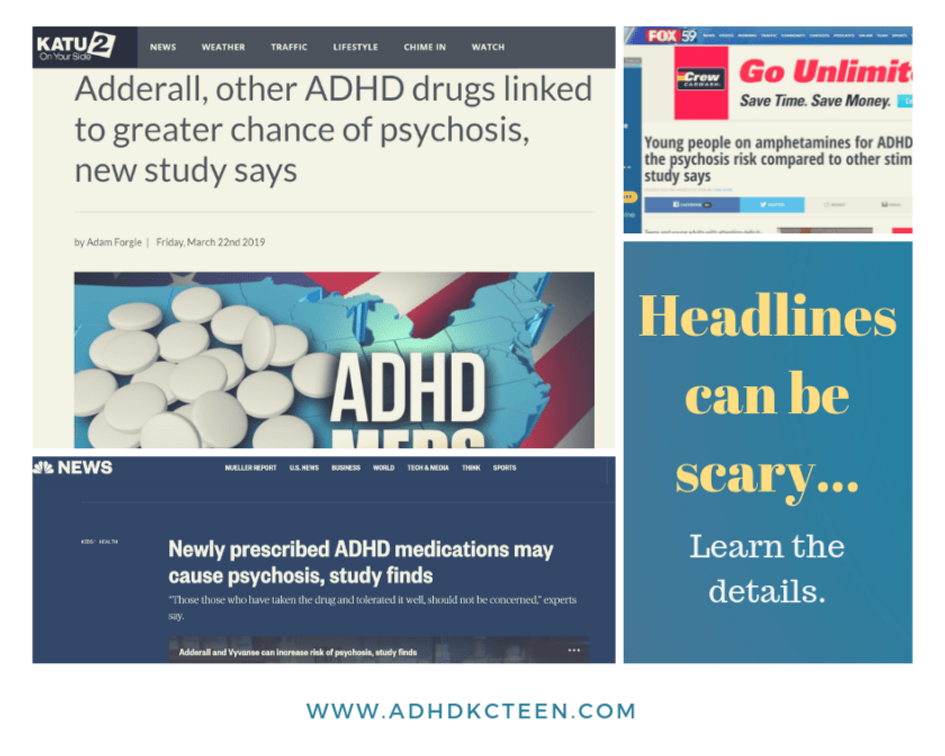 Psychosis from Adderall is all over the news. Headlines are scary. Learn what you need to know. @adhdkcteen