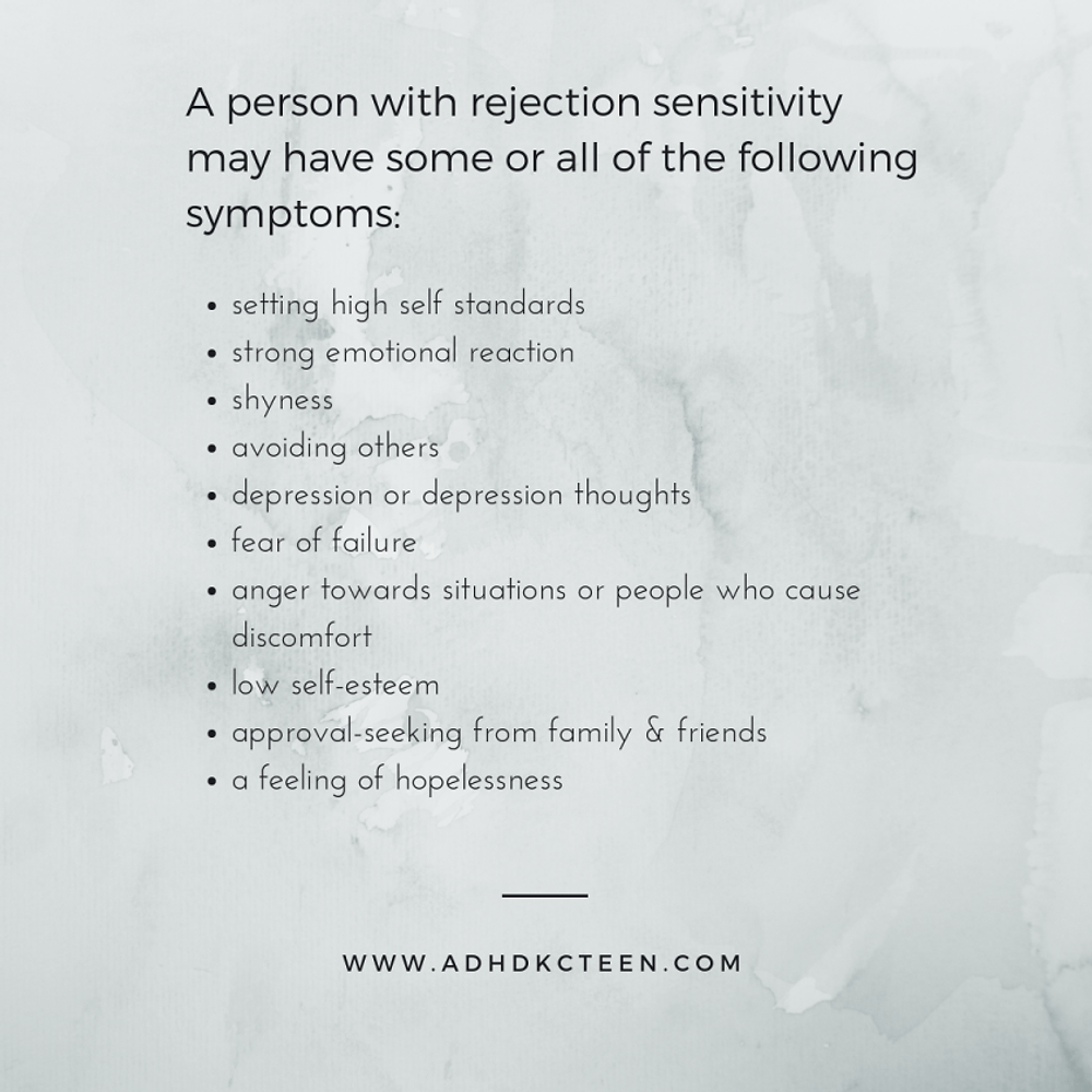 Symptoms of rejection sensitivity. Learn to recognize them so you can work on it.