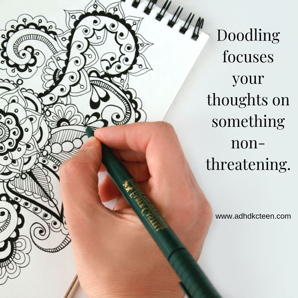 Doodling and coloring are very relaxing and can be done nearly anywhere when you need to relax. @adhdkcteen