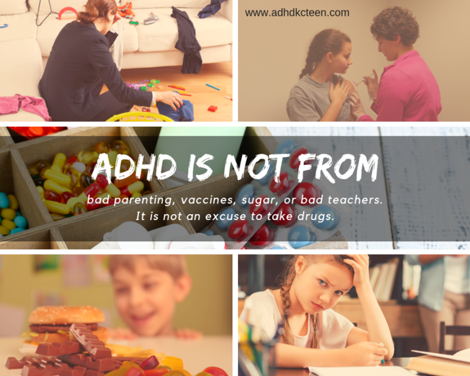 There are many myths about why ADHD exists - and some even deny its existance. Learn the real cause of ADHD. #adhdkcteen #adhd