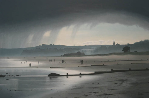 Rain over Alnmouth Beach