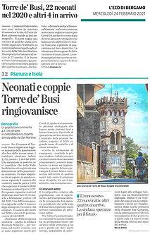L'Eco di Bergamo del 24/02/2021