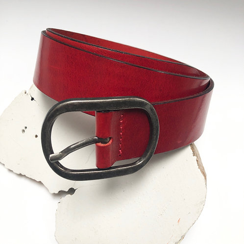 Red Leather Oval Buckle Belt