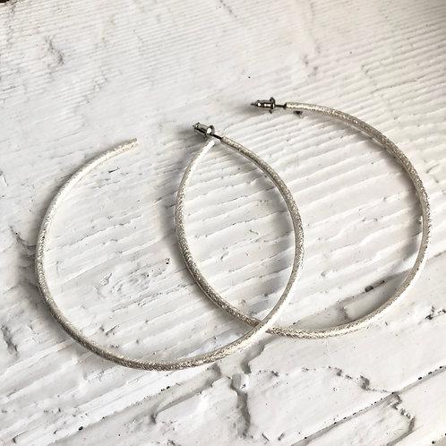 Etched Sterling Silver Hoop Earrings