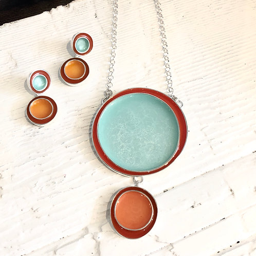 Enamel Turquoise and Orange Necklace