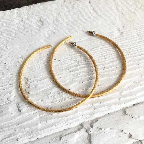 Etched Gold Vermeil Hoop Earrings, Large